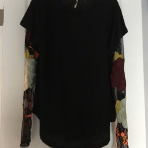 NWT Free People tee w/ embroidered sheer sleeves